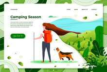 Vector Illustration - Tourist Girl With Backpack And Dog On Summer Travel, Forests, Trees And Hills On Green Background. Banner, Site, Poster Template With Place For Your Text.