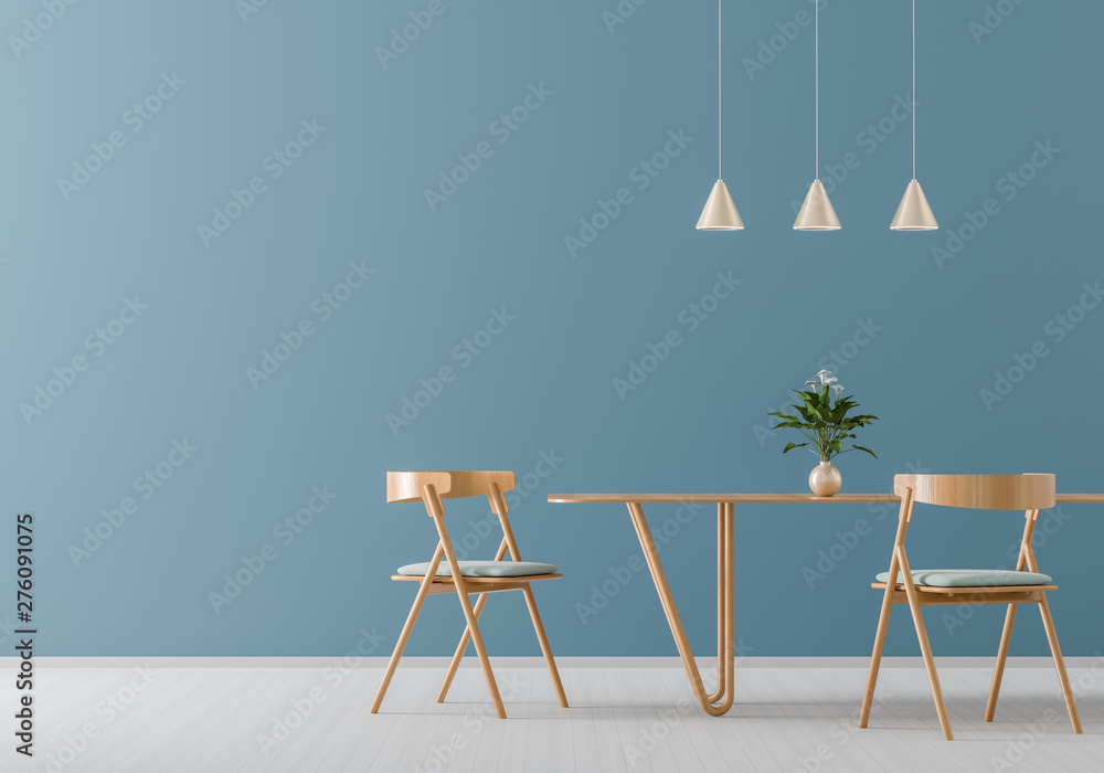 Fototapeta Spacious modern dining room with wooden chairs and table.  Minimalist dining room design. 3D illustration.