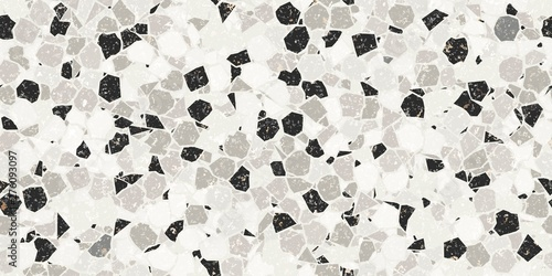 Black and White Textured Dense Crazy Paving or Terrazzo Seamless Repeat Vector Pattern Swatch. Thousands of random non-overlapping polygonal elements. Generative Art.