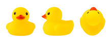 Set Of Front, Side And Top Views Of Yellow Rubber Duck Isolated On White Background