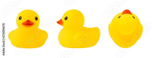 Foto Set of front, side and top views of yellow rubber duck isolated on white backgro