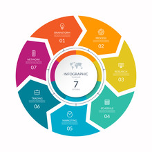 Infographic Process Chart. Cycle Diagram With 7 Stages, Options, Parts. Can Be Used For Report, Business Analytics, Data Visualization And Presentation.
