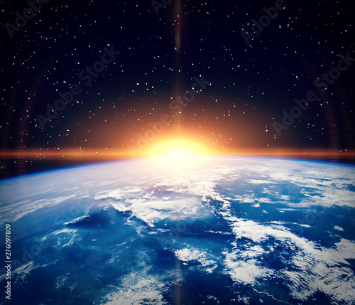 Keuken foto achterwand Nasa Sunrise and stars. The elements of this image furnished by NASA.