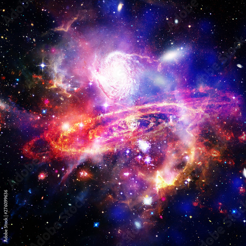 Poster Universe Space Background with Colorful Galaxy Cloud Nebula. The elements of this image furnished by NASA.