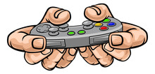 A Gamer Hand Holding Video Gaming Game Controller