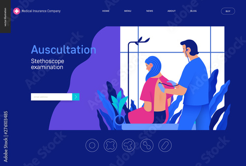 Medical tests Blue template - auscultation -modern flat vector concept digital i Wallpaper Mural