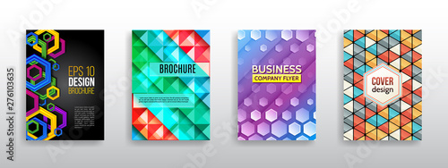 Hi-tech cover background. Book cover layout. Modern simple geometric template for business. Abstract hexagon flyer design. Vector annual report brochure.