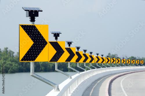 Fotografia Solar road traffic warning sign.