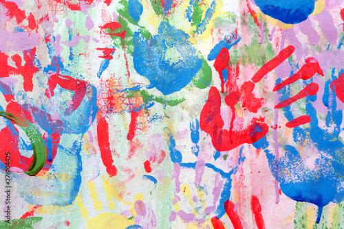 Color background of children's handprints Wallpaper Mural