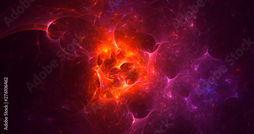 Poster Vlam 3D rendering abstract red fractal light background