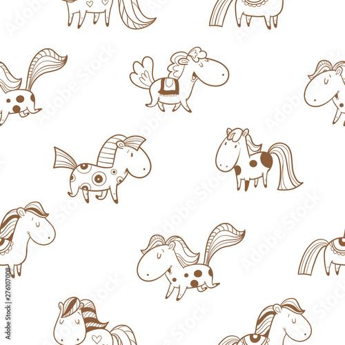 Fototapeta  Seamless pattern with cute cartoon horses on  white background