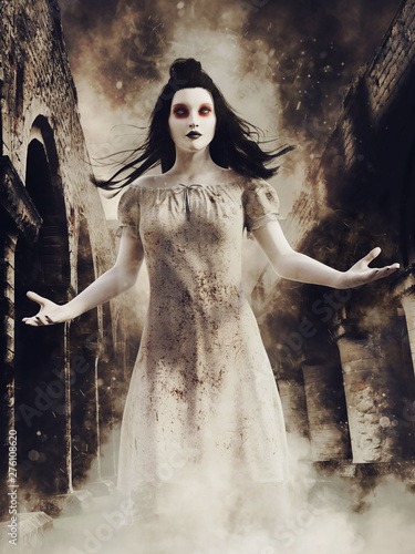 Photo Dark scene with a ghost girl standing in mist in the ruines of an old abandoned abbey