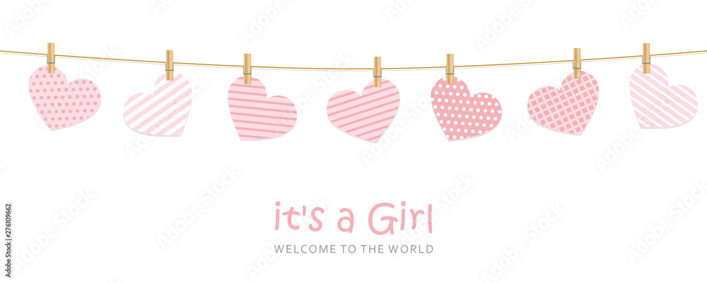Fototapeta its a girl welcome greeting card for childbirth vector illustration EPS10