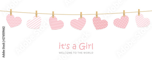 its a girl welcome greeting card for childbirth vector illustration EPS10