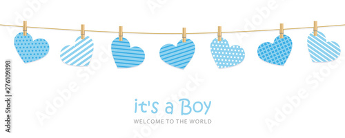 Fototapeta its a boy welcome greeting card for childbirth with hanging hearts vector illustration EPS10 obraz