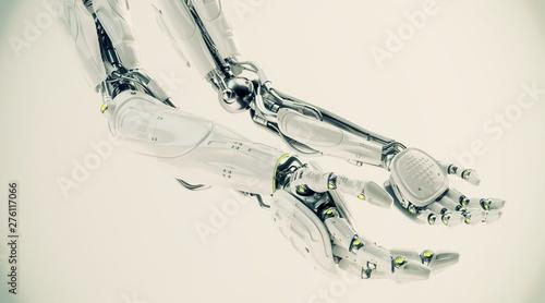 Foto auf Leinwand Gemälde Pair of futuristic robotic arms, 3d rendering