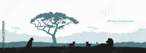 Czarna sylwetka dumy lwa. Krajobraz z dzikimi zwierzętami afrykańskimi. Scena dzikiej przyrody sawanny. Plakat podróż z Afryki