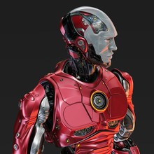 Athletic Robot In Red With White Semi-transparent Facial Mask, 3d Rendering