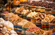Leinwanddruck Bild - food tea and different ingredients on shelf of night market street shops