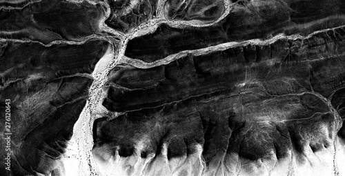 Foto auf Gartenposter Grau the Enchanted Forest, allegory, abstract naturalism, Black and white photo, abstract photography of landscapes of the deserts of Africa from the air, aerial view, contemporary photographic art,