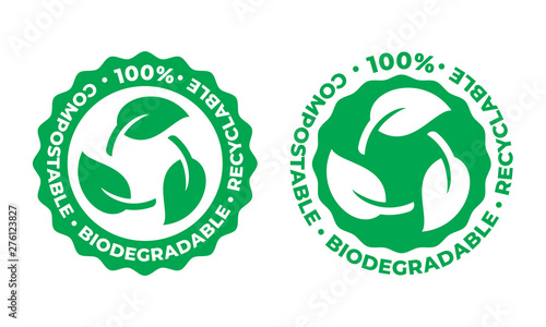 Fotomural  Biodegradable and compostable recyclable vector icon