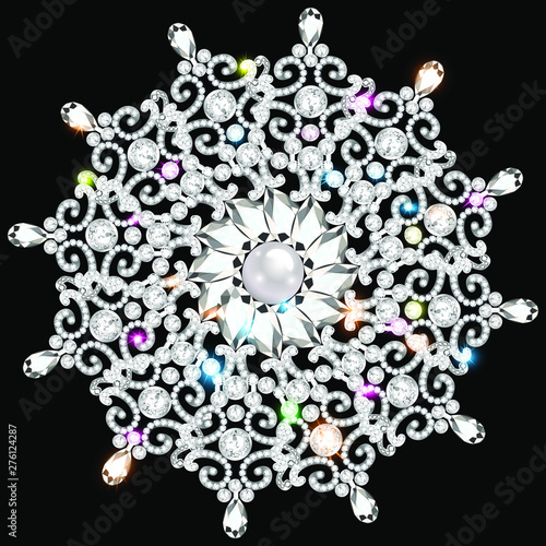 Tablou Canvas Mandala brooch jewelry, design element