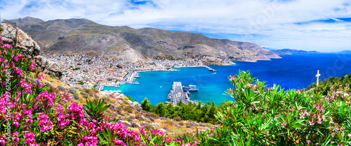 beautiful scenery of Kalymnos island - view of Pothia town. Greece, Dodecanese