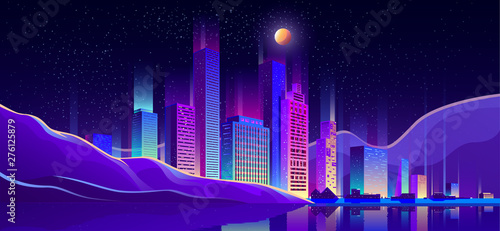 Poster Violet Metropolis on seacoast cartoon vector background with glowing at night, fluorescent neon illumination modern architecture skyscrapers buildings, cottage houses on city beach, embankment illustration