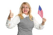 Mature Woman With USA Flag Sho...