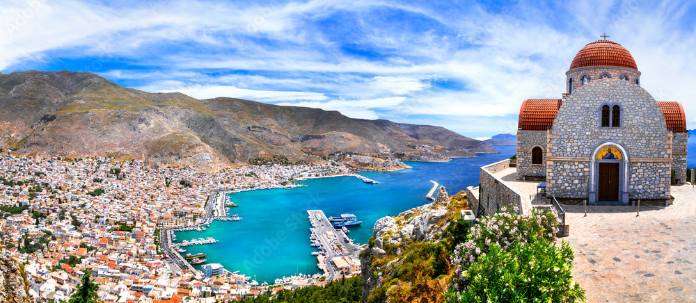 Fototapety, obrazy: Amazing Greece series - beautiful Kalymnos island, Dodecanese. view of town and agios Savvas monastery