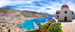 canvas print picture - Amazing Greece series - beautiful Kalymnos island, Dodecanese. view of town and agios Savvas monastery