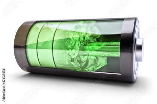 Fotografie, Obraz Wireless power source charging concept, accumulator battery with green charging