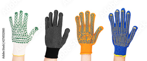 Fotografija  new garden gloves isolated on white background set