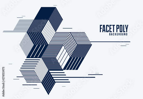 Abstract polygonal background with stripy triangles and 3D cubes vector design Wallpaper Mural