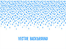 Autumn Border, Frame Made Of Uneven Falling Water Drops, Droplets, Raindrops, Tears Of Various Size. Seamless In Horizontal Direction Fall Template, Design Element. Blue Aquatic Rainy Text Background.