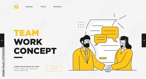 Obraz Presentation slide template or landing page website design. Business concept illustrations. Modern flat outline style. Teamwork concept - fototapety do salonu