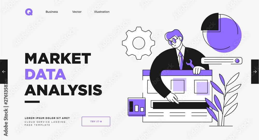 Fototapety, obrazy: Presentation slide template or landing page website design. Business concept illustrations. Modern flat outline style. Research innovations and solutions