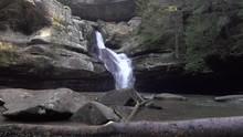 Waterfall In Wilderness Pan Establishing Shot 4k