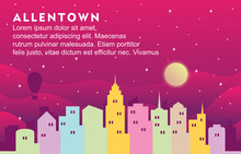 Allentown Pennsylvania City Building Cityscape Skyline Dynamic Background Illustration