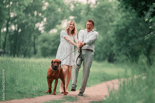 Foto auf AluDibond Olivgrun young husband and his wife with their pet dog on a walk in the Park