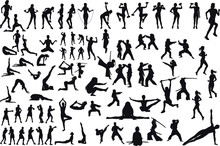 A Large Set Of Silhouettes From Some Sports Of Fitness And Martial Arts Children Girls And Men Isolated On White Background