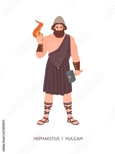 Photo  Hephaestus or Vulcan - god or deity of blacksmiths, craftsmen and metalworking of Greek and Roman pantheon