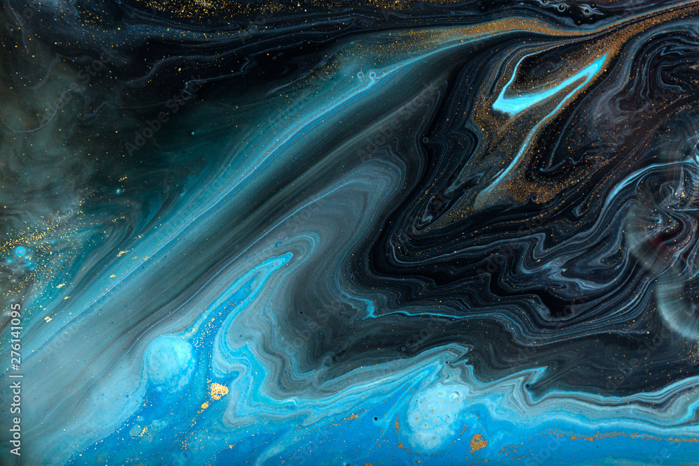 Fototapety, obrazy: Blue and gold marbling pattern. Golden powder marble liquid texture.
