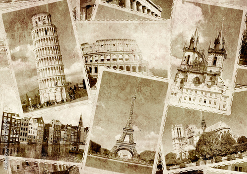 vintage-travel-background-with-retro-photos-of-european-landmarks