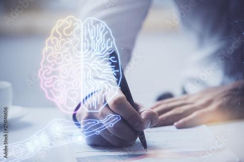 Obraz Man with multi exposure brain theme icons. - fototapety do salonu