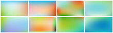 Set Of Colored Backgrounds. Smooth And Blurry Abstract Gradient For Product Presentation, Brochure, Flyer, Poster, Banner. Horizontal Vector Illustrations.
