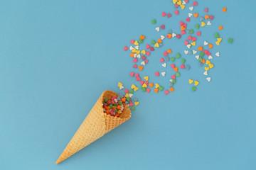 Ice cream cone with colorfu...