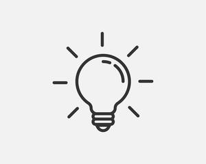 Wektor ikona żarówki. Koncepcja logo pomysł Llightbulb. Element sieci web ikony lampy energii elektrycznej. Na białym tle sylwetka światła LED.
