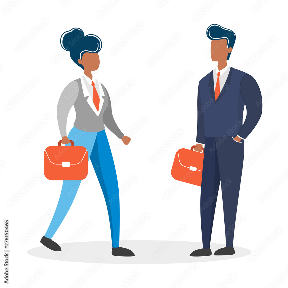 Fototapety, obrazy: Businessman and a businesswoman. Office character couple