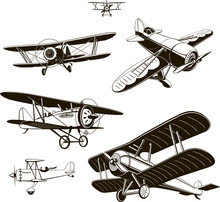 Vintage Biplanes Set Vector Black Old, Logo, Emblem, Label